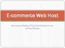 E-commerce Web Host: E Commerce Web Host